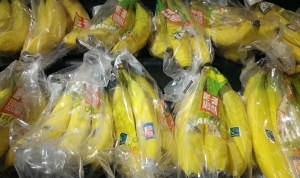 Equal Exchange bananas on display challenging the mighty Chiquita brand